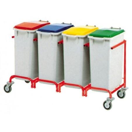 Carro Reciclaje - 4 Cubos