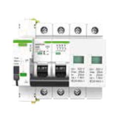 Protección combinada IGA+sobretensión permanente con reconexión automática y sobretensión transitoria 4 Polos