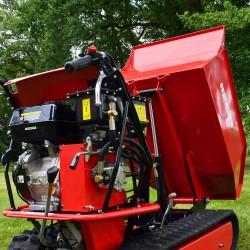 Detalle motor y volcado Mini Dumper HECHT 2950 - 500 kg