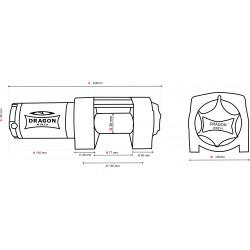 Cabrestante Electrico DRAGON WINCH DWM 3500 ST - 1.588 Kg - medidas
